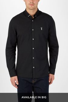 Black Slim Fit Long Sleeve Stretch Oxford Shirt