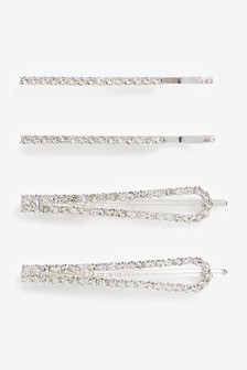 Silver Tone Crystal Hair Clips 4 Pack