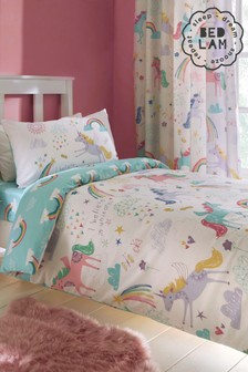 Rainbow Unicorn Duvet Cover and Pillowcase Set by Bedlam