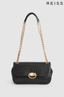 Reiss Black Lexi Leather Croc Embossed Shoulder Bag