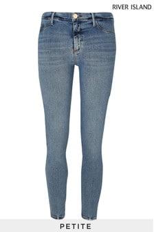 River Island Petite Blue Medium Molly Mid Rise Rock Jeans