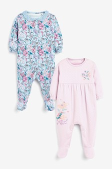 Lilac Floral 2 Pack Smart Sleepsuits (0mths-2yrs)