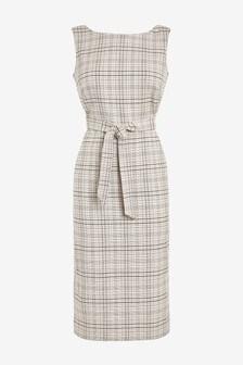 Check Linen Blend Belted Dress