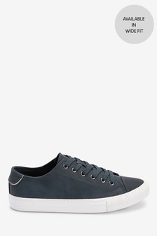 Navy Baseball Lace-Up Trainers
