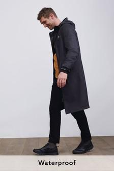Dark Black Waterproof Packable Jacket With Bag