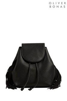 Oliver Bonas Black Alise Tasselled Black Drawstring Backpack