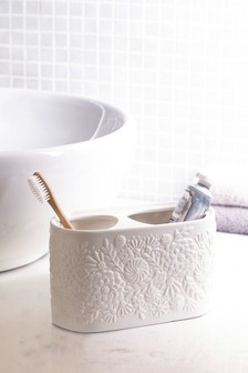 Floral Ceramic Toothbrush Tidy