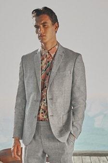 Light Grey Textured Jacket Linen Blend Textured Slim Fit Suit: Jacket