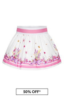 Monnalisa Baby Girls White Cotton Skirt