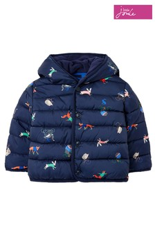 Joules Blue Jessie Printed Padded Coat