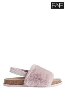 F&F Mink Faux Fur Slippers