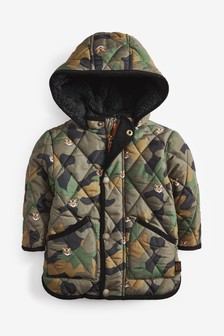 Khaki Camo Quilted Tiger Print Jacket (3mths-7yrs)