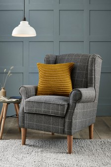 Tweedy Check Lawson Mid Grey Sherlock II Petite Armchair With Light Legs