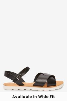 Black Regular/Wide Fit Forever Comfort® Leather Sporty Sole Sandals