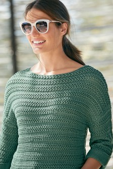 Green Stitchy Boat Neck Jumper