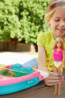 Barbie Boat with Puppy Figurine and Toy Accessories