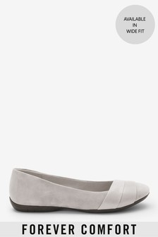 Grey Forever Comfort® Leather Wrap Ballerina Shoes
