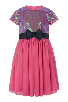 Girls Multicoloured Sequin Tulle Dress