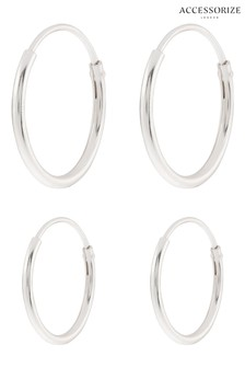 Accessorize Sterling Silver Plain Mini Hoop Set