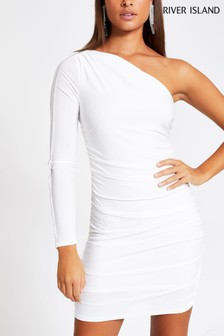 River Island White Sara Ruched Diamanté One Shoulder Dress