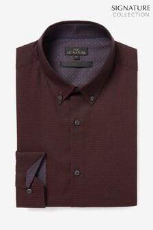 Burgundy Puptooth Jacquard Long Sleeve Shirt