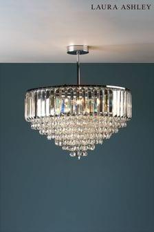 Laura Ashley Chrome Vienna Crystal 5 Light Semi Flush Ceiling Light
