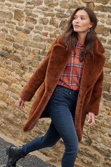 Brown Faux Fur Revere Pea Coat