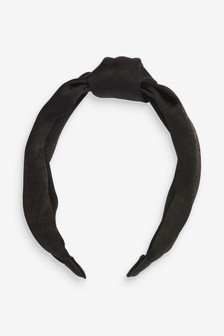 Black Satin Structured Headband