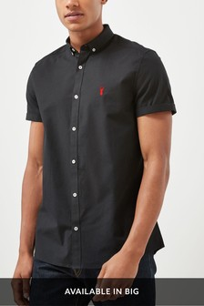 Black Slim Fit Short Sleeve Stretch Oxford Shirt