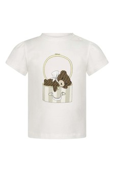 Baby Girls White Cotton Bear T-Shirt