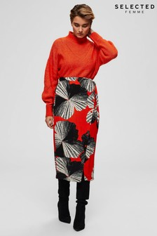 Selected Femme Orange Print Kairi Wrap Skirt