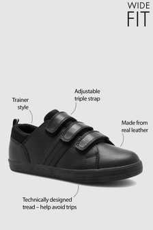 Black Wide Fit Leather Triple Strap Shoes (Older)