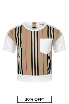 Baby Girls White & Icon Stripe Cotton Top