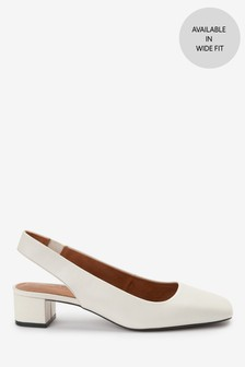 Ecru Leather Square Toe Slingbacks