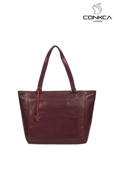 Conkca Plum Monique Leather Tote Bag