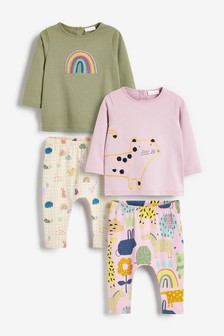 Multi 4 Piece Character T-Shirt And Leggings Set (0mths-2yrs)