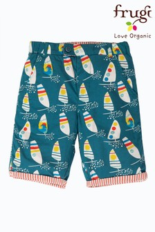 Frugi Blue GOTS Organic Reversible Shorts In Red Seersucker And Windsurfer Print