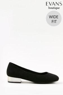 Evans Curve Wide Fit Black Metal Heel Shoes