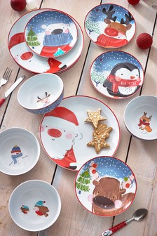 Red Santa and Friends 12 Piece Dinner Set