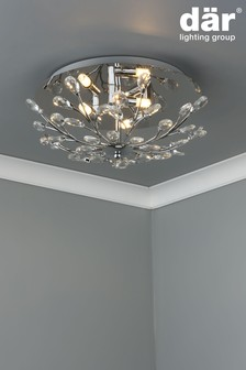 Dar Lighting Silver Zafir 3 Light Flush Fitting