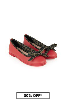 Girls Red Leather Ballerina Shoes