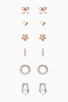 Silver And Rose Gold Tone Pretty Stud Earrings Six Pack