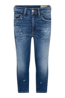 Boys Blue Cotton Denim Distressed Jeans