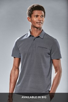 Navy Regular Fit Geometric Print Polo