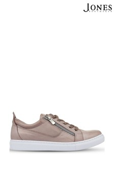 Jones Bootmaker Pewter Mila Lace-Up Leather Trainers