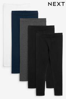 Black/Navy Blue/Grey/White 5 Pack Leggings (3-16yrs)