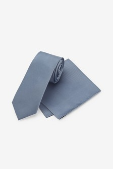 Blue Slim Silk Tie And Pocket Square Set