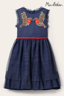 Boden Navy Embellished Tulle Party Dress