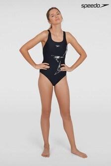 Speedo Black Boomstar Placement Racerback Swimsuit