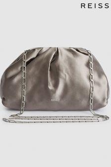 Reiss Grey Ellena Satin Pouch Clutch Bag